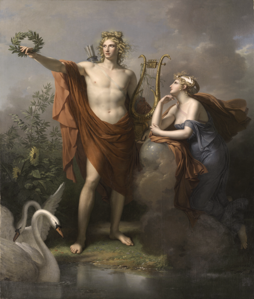 Apollo, God of Light, Eloquence, Poetry and the Fine Arts with Urania, Muse of Astronomy